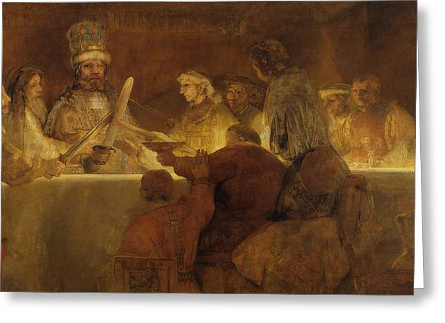 The Conspiracy Of The Batavians Under Claudius Civilis Greeting Card by Rembrandt