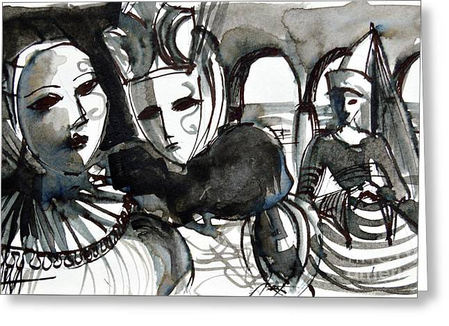 The Conspiracy - Venice Carnival Greeting Card by Mona Edulesco