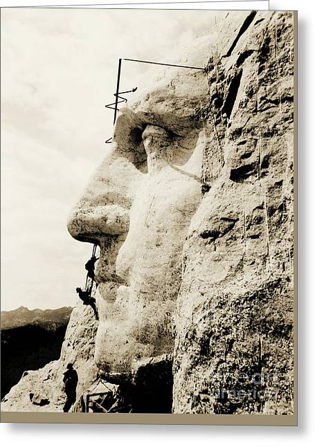 The Construction Of The Mount Rushmore National Memorial, Detail Of George Washington Greeting Card by American School