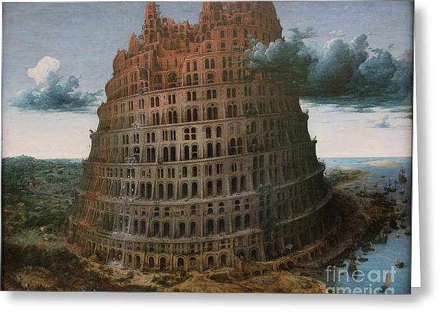 The Construction Of The Tower Of Babel Greeting Card by Celestial Images