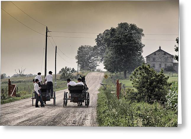 Mennonite Greeting Cards - The Conversation Greeting Card by Russell Styles