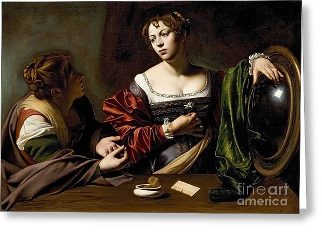 Michelangelo Caravaggio Greeting Cards - The Conversion of the Magdalene Greeting Card by Michelangelo Merisi da Caravaggio
