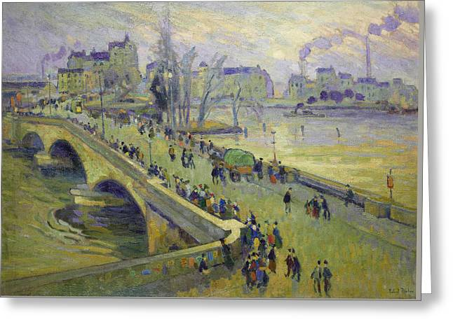 The Corneille Bridge, Rouen Greeting Card by Robert Antoine Pinchon