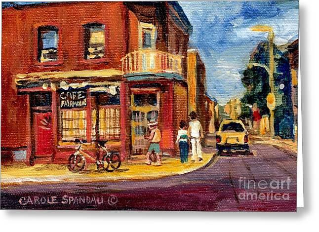 The Corner Coffee Shop Montreal Memories Original City Scene Paintings Canadian Art Carole Spandau Greeting Card by Carole Spandau