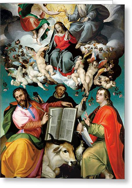 The Coronation Of The Virgin With Saints Luke Dominic And John The Evangelist  Greeting Card
