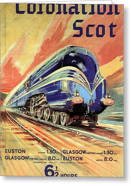 The Coronation Scot - Vintage Blue Locomotive Train - Vintage Travel Advertising Poster Greeting Card