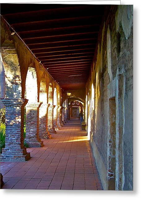 The Corridor By The Serra Chapel San Juan Capistrano Mission California Greeting Card