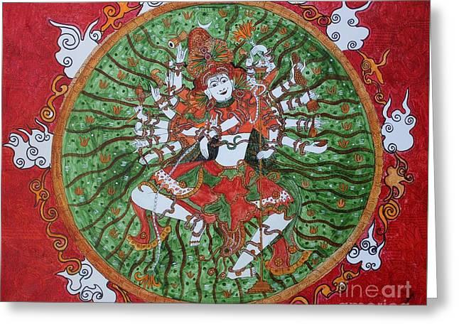 The Cosmic Dancer Greeting Card by Saranya Haridasan