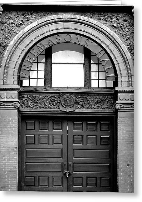 The Cotton Exchange Building Door Black And White Greeting Card
