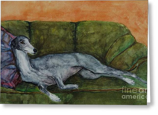 The Couch Potatoe Greeting Card by Frances Marino