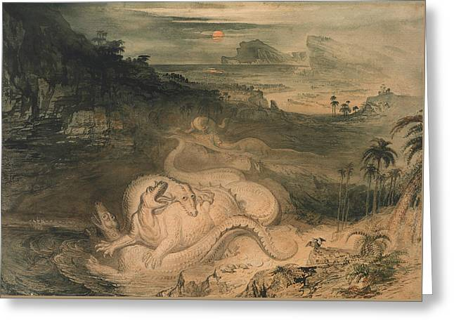 The Country Of The Iguanodon Greeting Card by John Martin