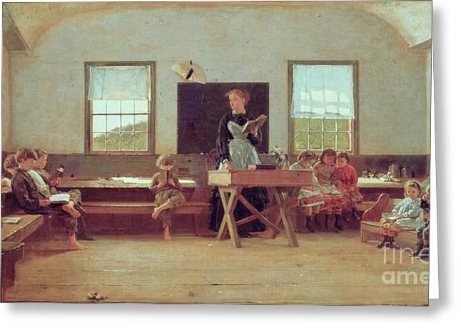 Kids Books Paintings Greeting Cards - The Country School Greeting Card by Winslow Homer