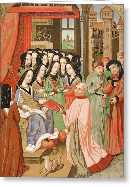 The Court Of Mary Of Anjou 1404 To 1463 Greeting Card by Vintage Design Pics
