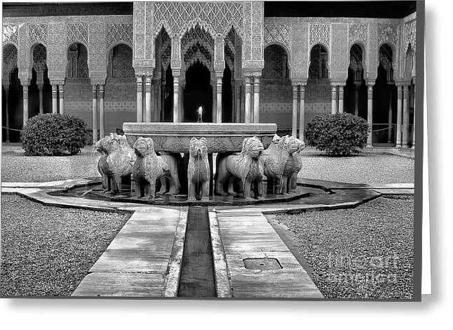 The Court Of The Lions Alhambra Bw Greeting Card by Guido Montanes Castillo