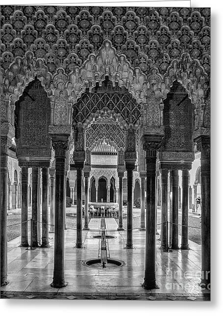 The Court Of The Lions Alhambra Palace Bnw Greeting Card by Guido Montanes Castillo