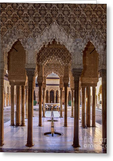 The Court Of The Lions Alhambra Palace Greeting Card by Guido Montanes Castillo