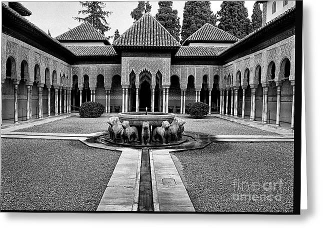 The Court Of The Lions Alhambra Spain Bw Greeting Card by Guido Montanes Castillo