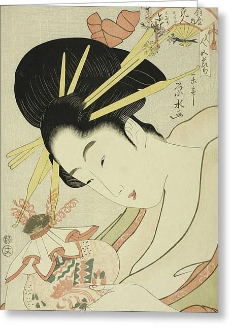 The Courtesan Hanahito Of The Ogiya And Attendants Sakura And Momiji Greeting Card by Ichirakutei Eisui