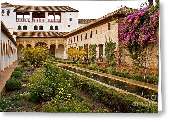 The Courtyard  Of The Acequia - Generalife Greeting Card