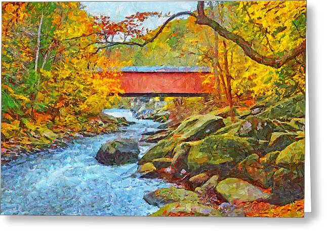 Greeting Card featuring the digital art The Covered Bridge At Mcconnells Mill State Park by Digital Photographic Arts