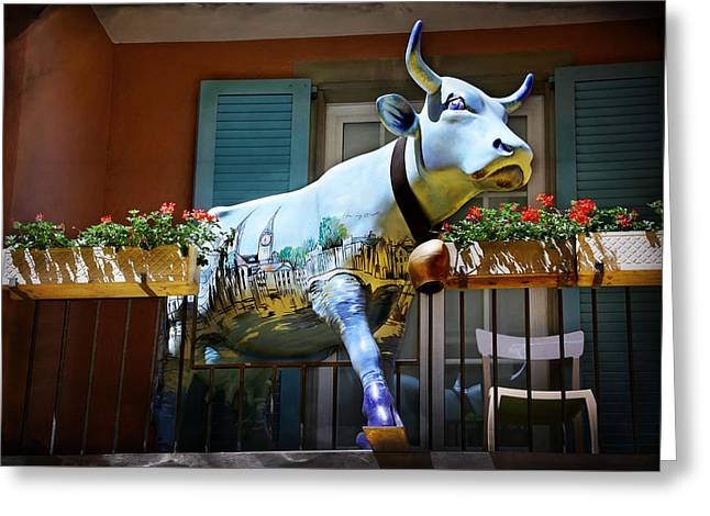 The Cow On The Balcony Greeting Card by Carol Japp
