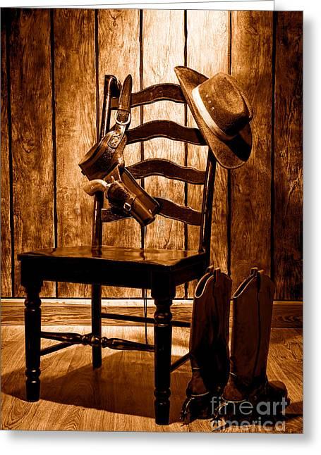 The Cowboy Chair - Sepia Greeting Card