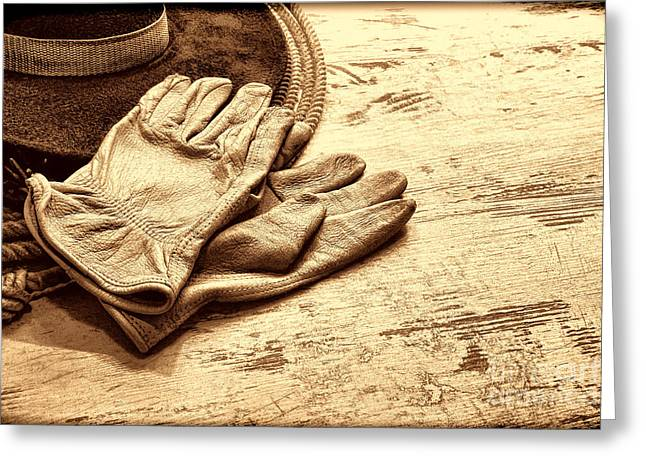 The Cowboy Gloves Greeting Card