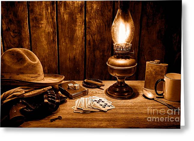 The Cowboy Nightstand - Sepia Greeting Card by Olivier Le Queinec