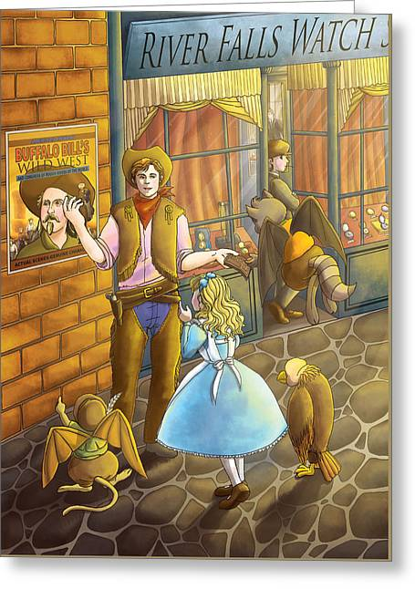 The Cowboy On River Street Greeting Card by Reynold Jay