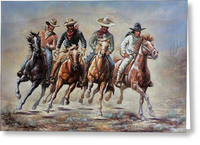 Greeting Card featuring the painting The Cowboys by Harvie Brown