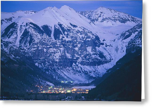 Geological Formations Greeting Cards - The Cozy Lighted Village Of Telluride Greeting Card by Paul Chesley
