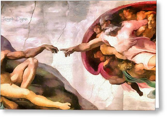 The Creation Of Adam By Michelangelo Revisited - Da Greeting Card by Leonardo Digenio