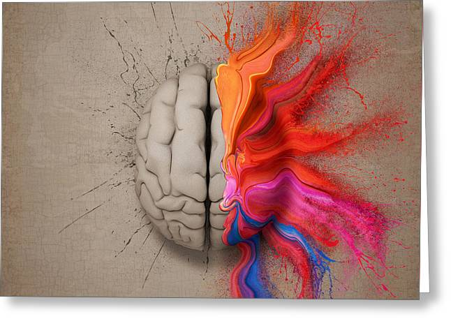 The Creative Brain Greeting Card by Johan Swanepoel