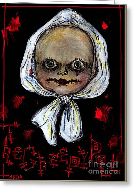 The Creepy Doll Greeting Card by Akiko Okabe