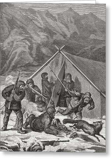 The Crew Of The Germania Chasing A Greeting Card by Vintage Design Pics