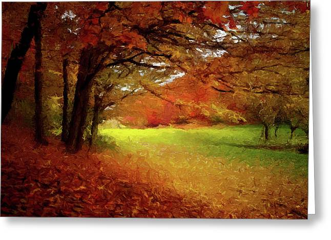 Greeting Card featuring the painting The Crimson Season P D P by David Dehner