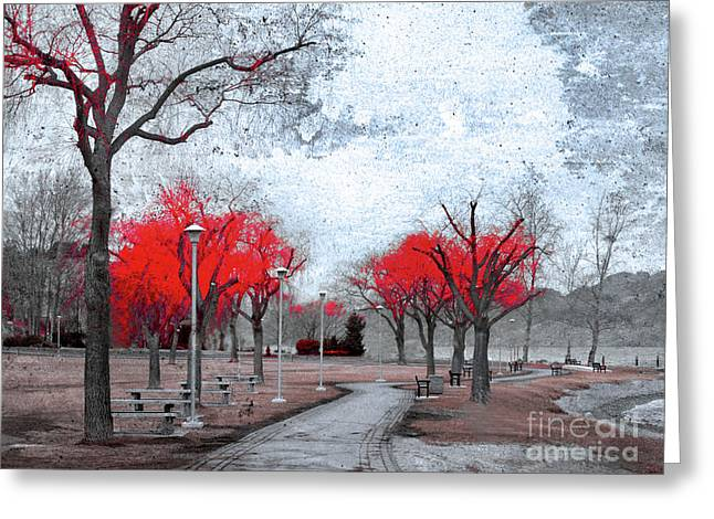 The Crimson Trees Greeting Card
