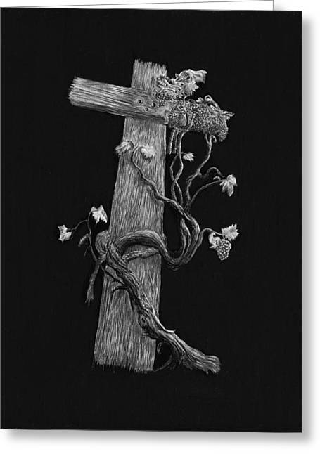 The Cross And The Vine Greeting Card by Jyvonne Inman