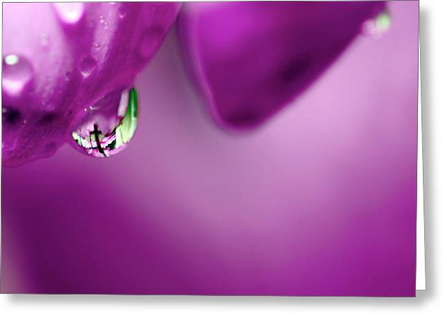 The Cross In Reflective Purple Water Drop Greeting Card