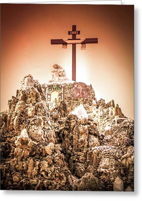 The Cross In The Grotto, Iowa Greeting Card by Art Spectrum