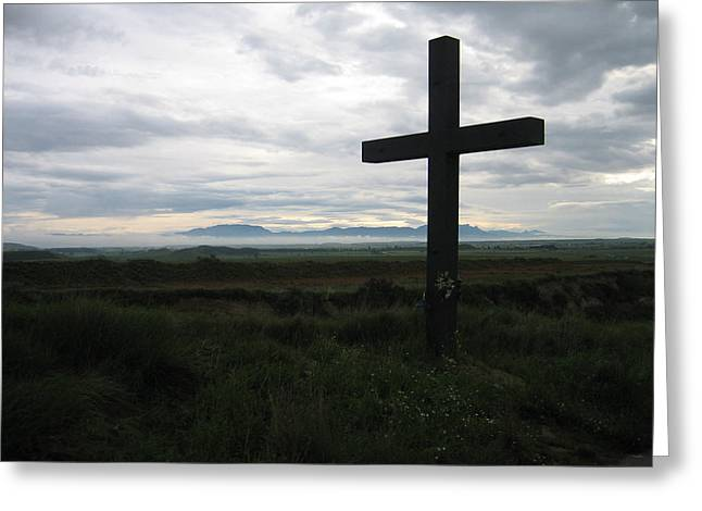 The Cross Greeting Card by Oliver Johnston
