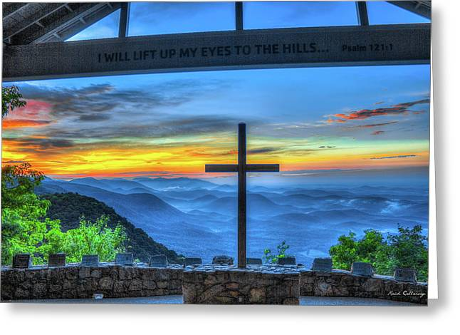 The Cross Sunrise At Pretty Place Chapel Greeting Card by Reid Callaway