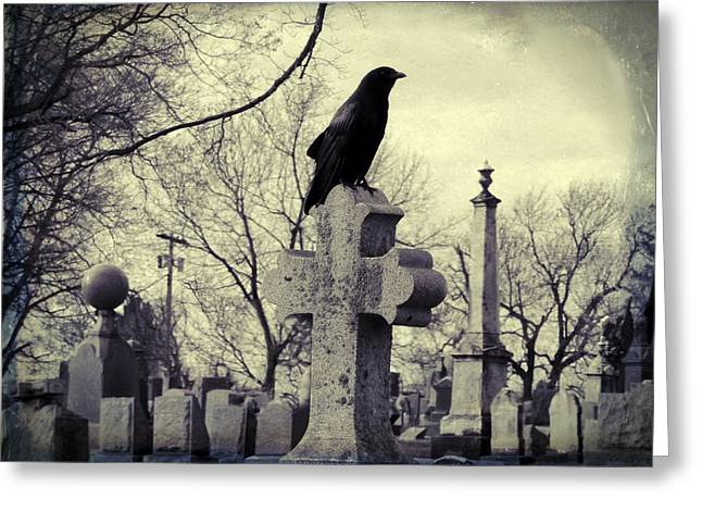 The Crow A Cemetery Staple Greeting Card by Gothicrow Images