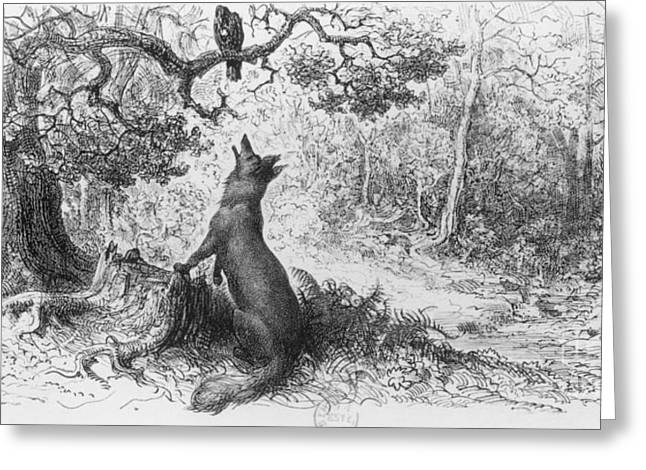 Engraving Greeting Cards - The Crow and the Fox Greeting Card by Gustave Dore