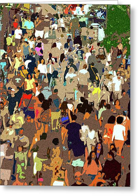 Greeting Card featuring the painting The Crowd by David Lee Thompson