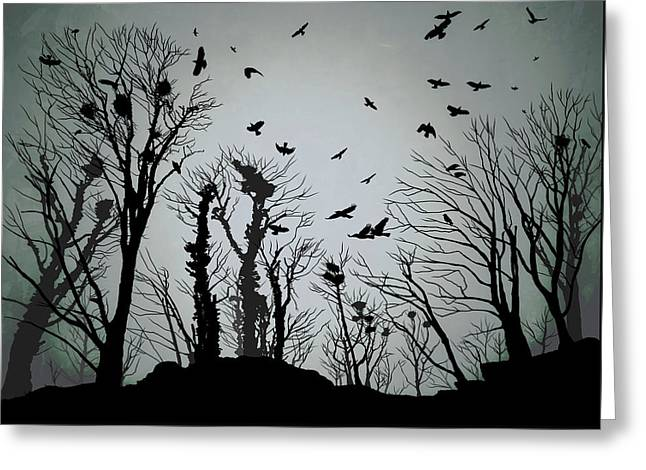 The Crows Roost - Twilight Blue Greeting Card