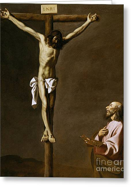 The Crucified Christ With A Painter Greeting Card by Francisco de Zurbaran