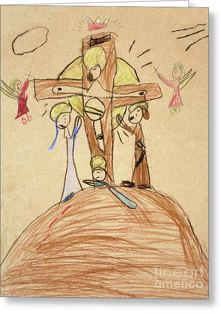 Greeting Card featuring the drawing The Crucifixion By Fr. Bill At Age 5 by William Hart McNichols