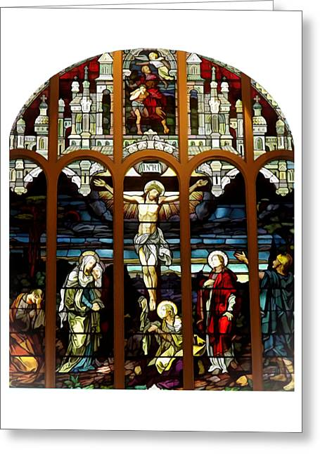 The Crucifixion Of Jesus On Good Friday Stained Glass Window Greeting Card