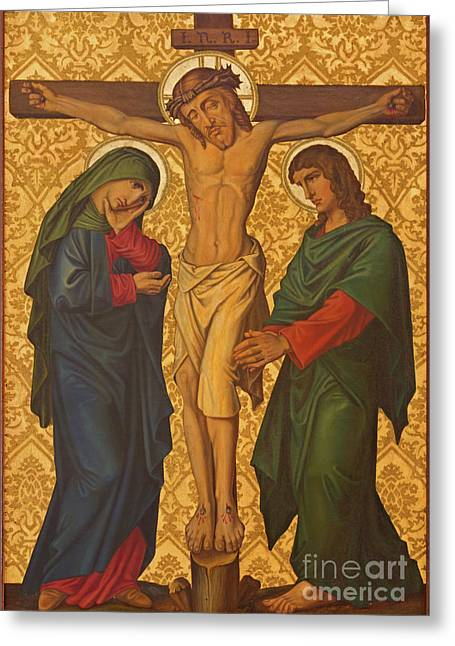 The Crucifixion Painting In Jerusalem Greeting Card by Jozef Sedmak